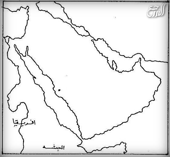 خريطة شبه الجزيرة العربية فارغة صماء