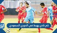 كم نادي يهبط في الدوري السعودي