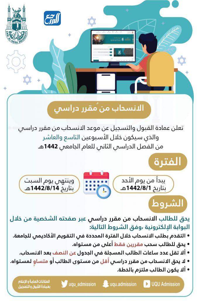 موعد سحب التسجيل من مقرر دراسي في جامعة أم القرى