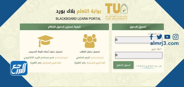 تسجيل الدخول في بلاك بورد جامعة الطائف
