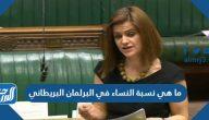 ما هي نسبة النساء في البرلمان البريطاني