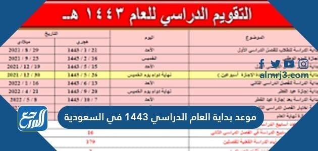 موعد بداية العام الدراسي 1443 في السعودية تاريخ بداية الدراسة 1443