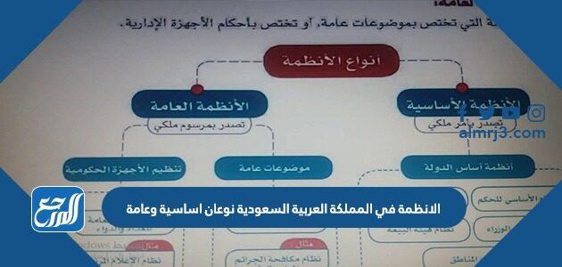 الانظمة في المملكة العربية السعودية نوعان اساسية وعامة