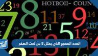 العدد الصحيح الذي يمثل ٨ س تحت الصفر