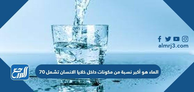 الماء هو أكبر نسبة من مكونات داخل خلايا الانسان تشمل 70