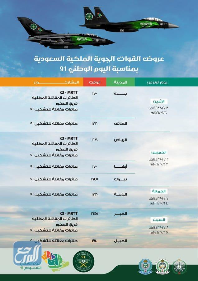 جدول عرض الطائرات في اليوم الوطني 91