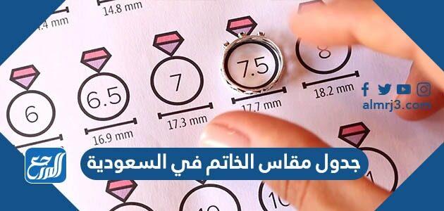 جدول مقاس الخاتم في السعودية