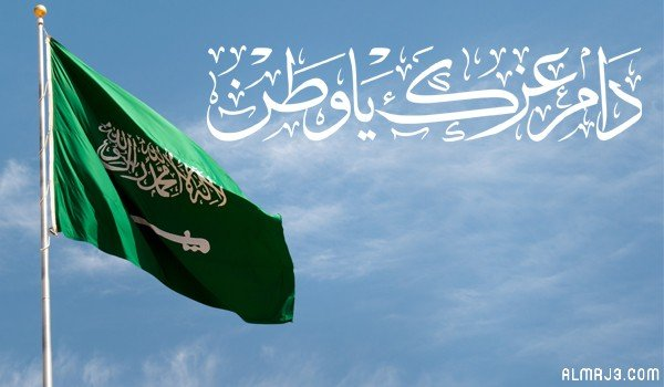 صورة علم السعودية مكتوب عليه دام عزك يا وطن