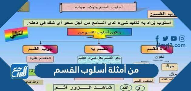 من أمثلة أسلوب القسم