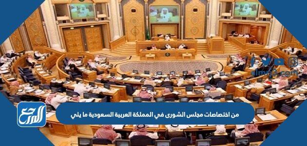 من اختصاصات مجلس الشورى في المملكة العربية السعودية ما يلي