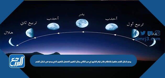 يبدو شكل القمر متغيرا بانتظام خلال ايام الشهر اي من التالي يمثل التغيير الافضل للتغيير الذي يبدو في شكل القمر