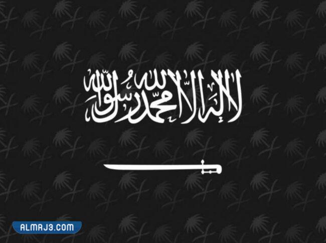 علم المملكة العربية السعودية أبيض واسود