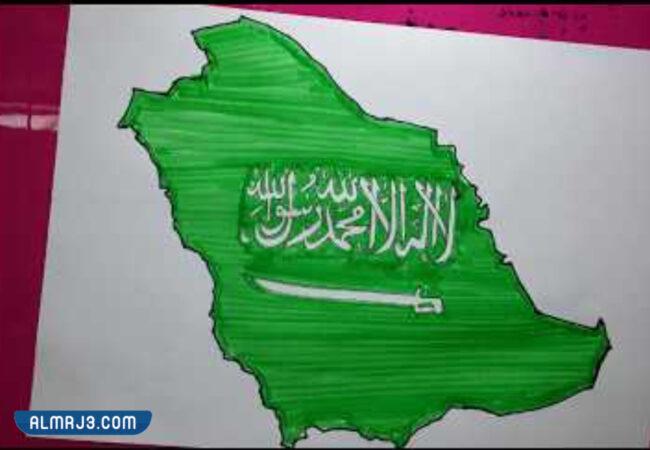 رسومات للعلم السعودي سهلة