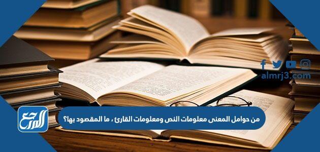 من حوامل المعنى معلومات النص ومعلومات القارئ ، ما المقصود بها؟