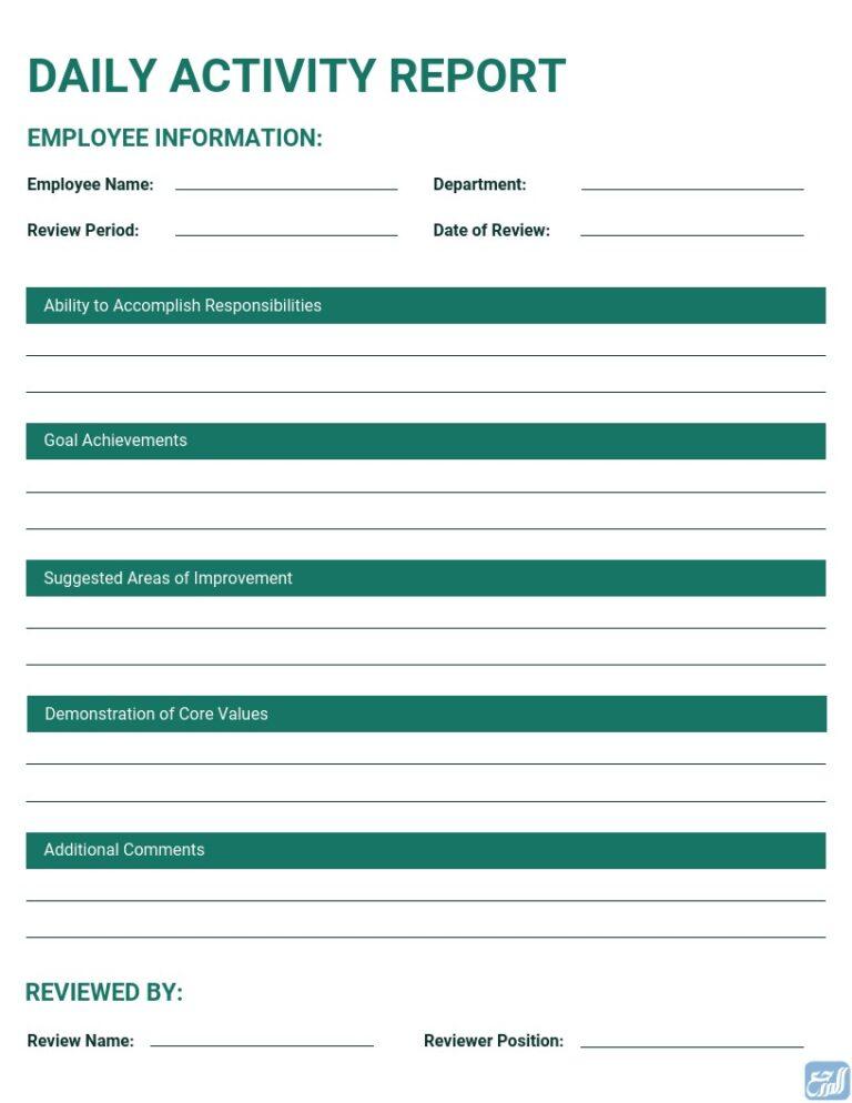 نموذج تقرير العمل اليومي جاهز باللغة الإنجليزية